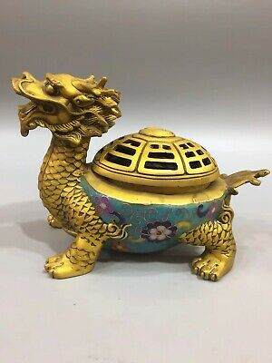 Chinese Old copper cloisonne hand-built dragon incense burner statues YR