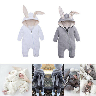 Baby Kids Boys Girls Infant Hooded Romper Jumpsuit Bodysuit Clothes Outfits