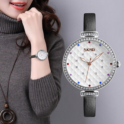 SKMEI Ladies Quartz Watches Women Girl Watch Wristwatch Leather Strap Waterproof