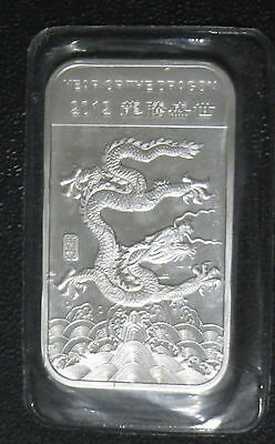 2012 APMEX Year Of The Dragon Uncirculated 1oz .999 Fine Solid Silver Bar USA