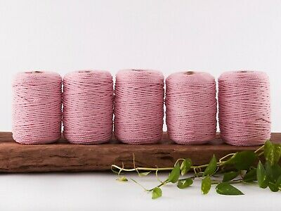 pink 4mm macrame rope 5kg coloured 3 strand ply cotton cord bulk wholesale