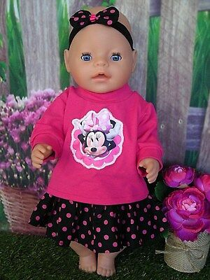 "Dolls clothes for 17"" Baby Born doll~ MINNIE MOUSE PINK TOP~SPOTTY SKIRT~HAIRBOW"