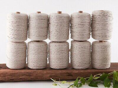 4mm macrame cord natural 1 ply cotton single strand string beige rope bulk