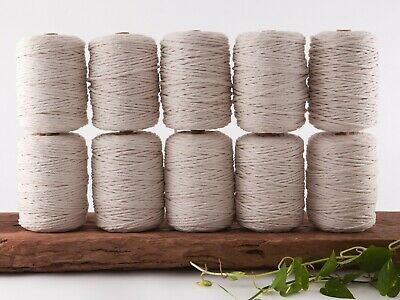 5mm macrame cord 10kg natural 1 ply cotton single strand string beige rope bulk