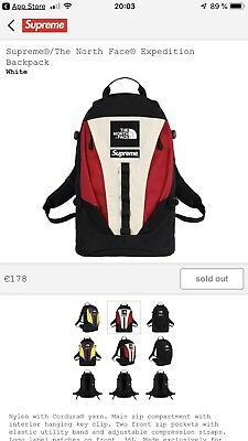 52a7d957a5 SUPREME THE NORTH Face Backpack White FW18 - EUR 237,00 | PicClick FR