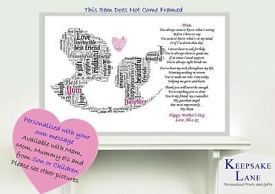 My Mum Poem Personalised with ANY PHOTO Birthday Mothers Day Christmas Gift