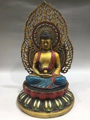 "15"" Chinese Antique Tibetan Buddhism old copper painted lotus Buddha statue YRT"