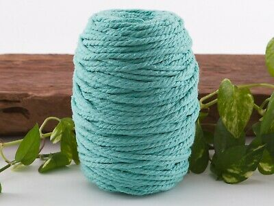5mm aqua macrame rope coloured 3ply cotton cord string strand twisted natural