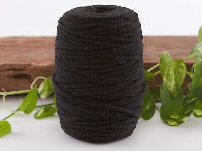 5mm black macrame rope coloured 3ply cotton cord string strand twisted natural