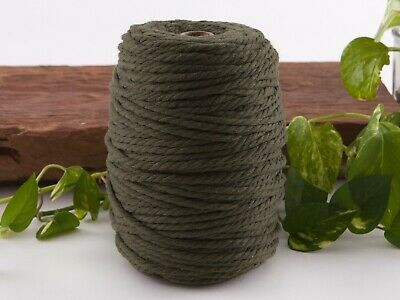 5mm khaki macrame rope coloured 3ply cotton cord string strand twisted natural
