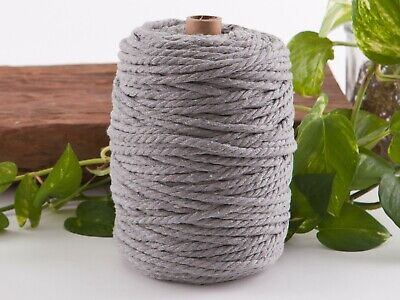 5mm grey macrame rope coloured 3ply cotton cord string strand twisted natural