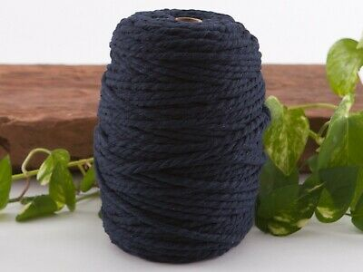 5mm navy macrame rope coloured 3ply cotton cord string strand twisted natural