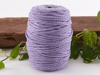 5mm purple macrame rope coloured 3ply cotton cord string strand twisted natural