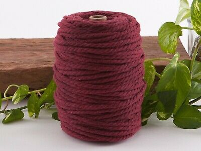 5mm wine macrame rope coloured 3ply cotton cord string strand twisted natural