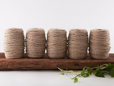 5mm tan macrame rope coloured 3 ply cotton three strand cord bulk wholesale