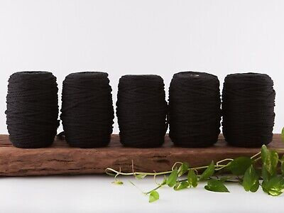 5mm black macrame rope coloured 3 ply cotton three strand cord bulk wholesale