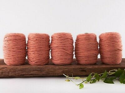 5mm coral macrame rope coloured 3 ply cotton three strand cord bulk wholesale