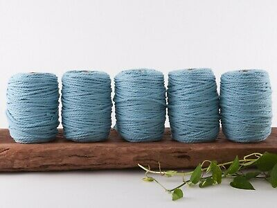 5mm blue macrame rope coloured 3 ply cotton three strand cord bulk wholesale