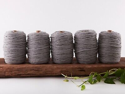 5mm grey macrame rope coloured 3 ply cotton three strand cord bulk wholesale