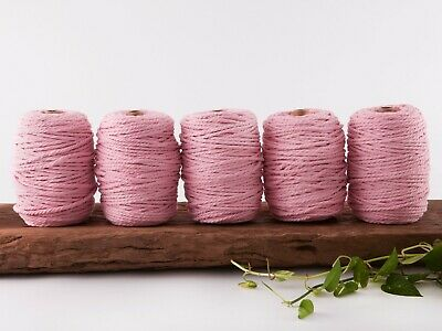 5mm pink macrame rope coloured 3 ply cotton three strand cord bulk wholesale