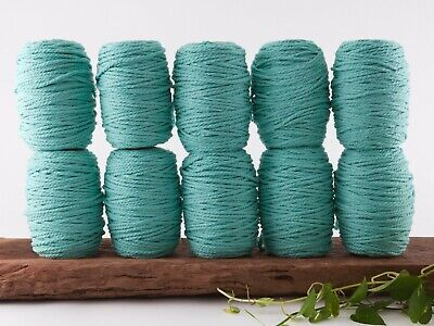 5mm aqua macrame rope 3 ply string coloured cotton cord twisted bulk