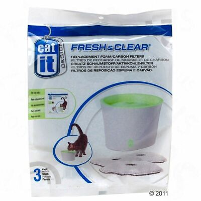 Catit Fresh & Clear Replacement Foam Carbon Filters Pack of 3 Pet Cat Fountains