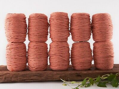 5mm coral macrame rope 3 ply string coloured cotton cord twisted bulk