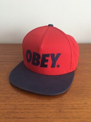 Navy Vintage Hockey One Size Obey Baseball Cap Rrp £20.
