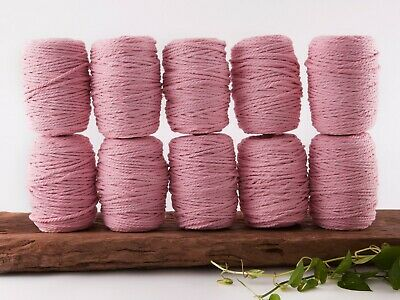 5mm pink macrame rope 3 ply string coloured cotton cord twisted bulk