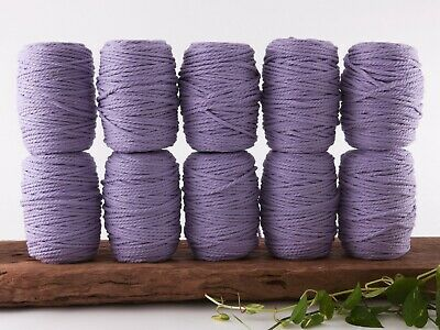 5mm purple macrame rope 3 ply string coloured cotton cord twisted bulk