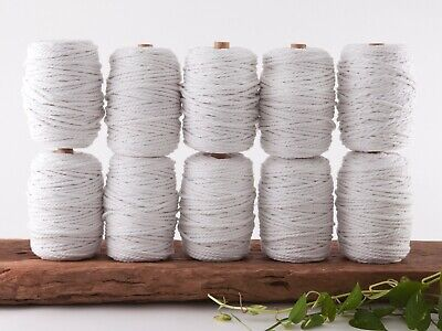 5mm white macrame rope 3 ply string coloured cotton cord twisted bulk