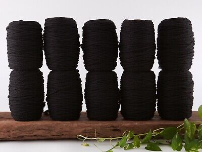 5mm black macrame rope 3 ply string coloured cotton cord twisted bulk
