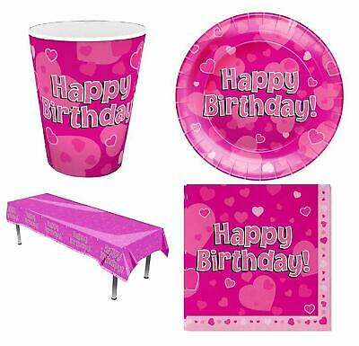 Pink Hearts Birthday Party Tableware Kit Set Ages 1 to 13 + Free Banner + Badge