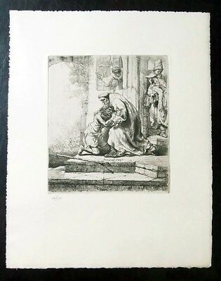 Rembrandt Etching - Return of the Prodigal Son - Last original Print 1929