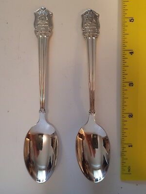 """Set Of Two(2) """"ontario 4-H Homemaking Club"""" Sterling Silver Teaspoons- Polished"""