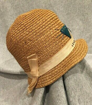 Vintage antique women's hat straw cloche 1920s size XS or childs