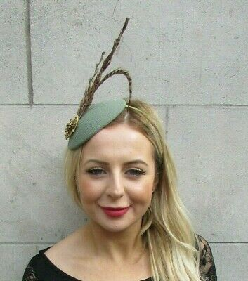 Khaki Sage Green Bronze Brown Pheasant Feather Hat Hair Fascinator Races 7091
