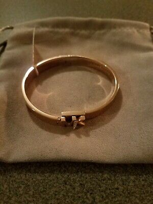 MK Logo Bangle Bracelet with Hint of Glitz - Rose Gold