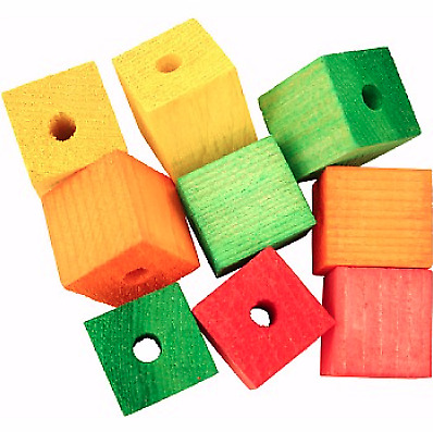 Colourful Wooden Cubes - Large - Pack of 9 - Safe Durable - Parrot Toy Making