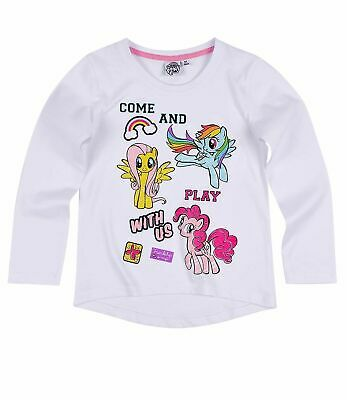 Girls Kids Official My Little Pony White Long Sleeve T Shirt Top