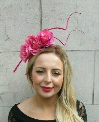 Hot Cerise Pink Rose Flower Floral Feather Fascinator Headband Races Hair 7098