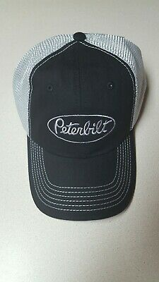 Peterbilt unstructured  Mesh Back Black Trucker  Cap/Hat gray embroidery log NWT