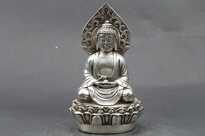 Collectible Old Chinese Tibet Silver Copper Handwork Carved Buddha Statue