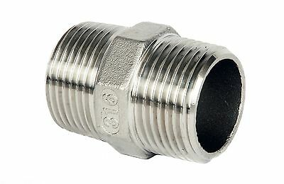 "Stainless Steel (316) Equal Nipple.  Threaded BSP Sizes 1/8"" to 2"""