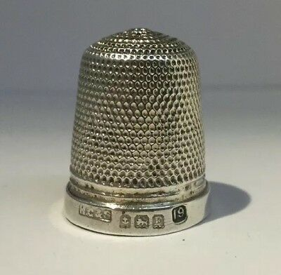 Antique Sterling Silver Thimble, Sewing Collectible Size 19 - Henry Griffith