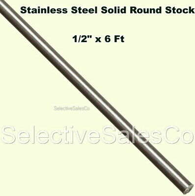"""Stainless Steel Solid Round Stock  1/2"""" x 6 Ft   416 Unpolished Rod  72"""" Length"""