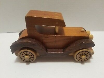 "Vintage Hand Made WOODEN Old Model Car Toy 7.5"" X 4.5"