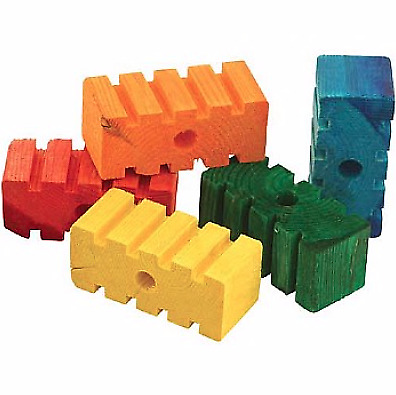 Coloured Chunky Groovy Blocks - Parrot Toy Parts - Pack of 5 - Chewable Birds