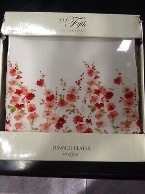 222Fifth Belicia Red 4 New In Box Dinner Plates