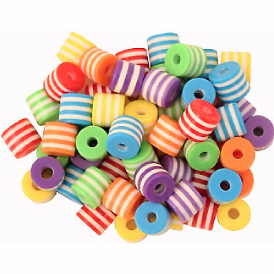 Multi-Coloured Plastic Beads - Parrot Toy Parts - 60 Pack - Safe and Durable